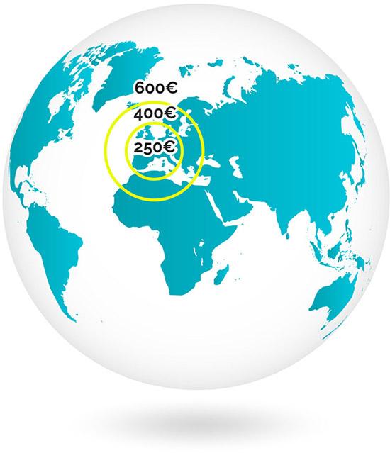 Indemnité-voyage applicables selon la distance pour un vol au départ ou à l'arrivée de Paris.